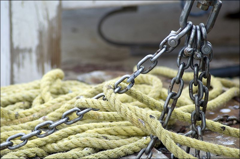 Chain and yellow rope